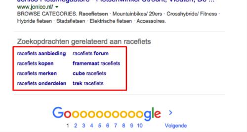 Gerelateerde zoekopdrachten in Google
