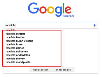 Longtail zoekwoorden via Google Suggesties