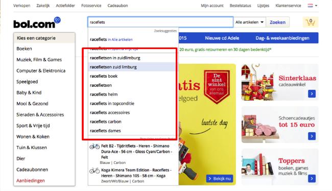 Zoekwoorden vinden via webshops
