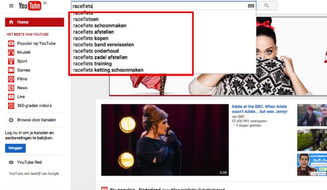 Zoekwoorden vinden via YouTube