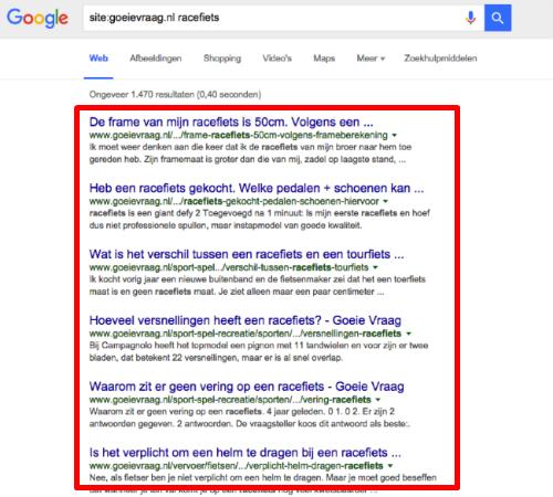 Een website doorzoeken via Google