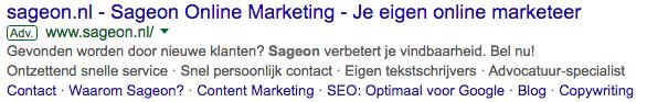 Sitelink AdWords Sageon