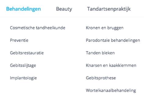 Voorbeeld van een menustructuur van een website