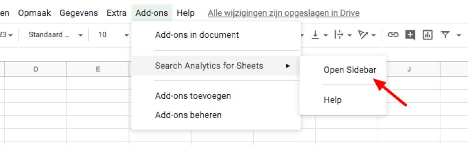 Add-ons toevoegen aan een spreadsheet