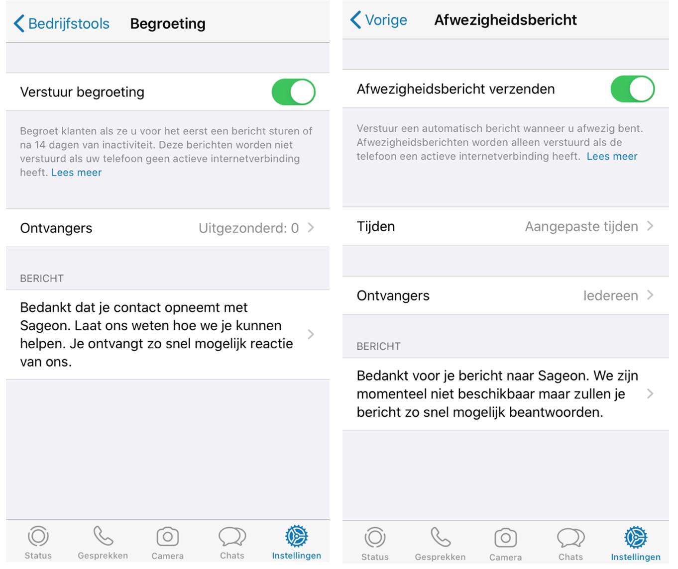 Automatische berichten in Whatsapp Business